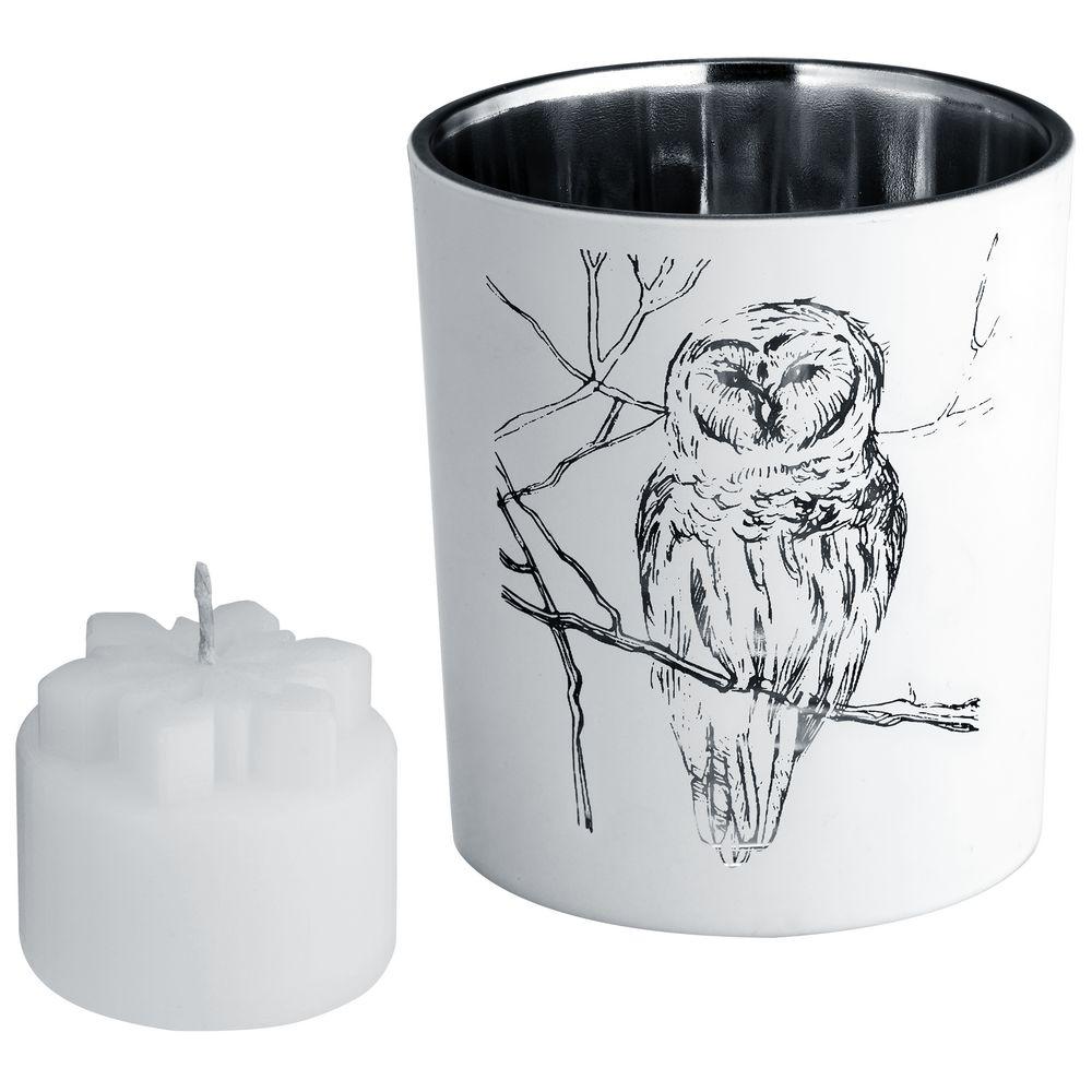 Подсвечник со свечой Forest, с изображением совы