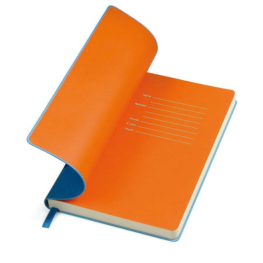 """Бизнес-блокнот """"Funky"""", 130*210 мм, синий, оранжевый форзац, мягкая обложка, блок-линейка"""