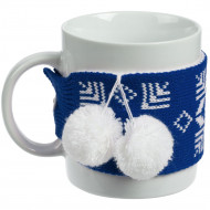 Кружка с манжетой «Снежинки», синяя