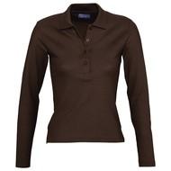 Рубашка поло женская с длинным рукавом PODIUM 210 шоколадно-коричневая