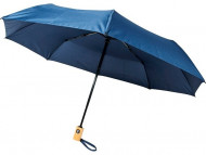 Автоматический складной зонт Bo из переработанного ПЭТ-пластика, темно-синий