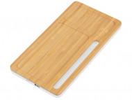 """Беспроводное зарядное устройство-органайзер из бамбука """"Timber"""", натуральный/белый"""