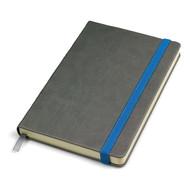"""Бизнес-блокнот """"Fancy"""", 135х210 мм, серый/синий, твердая обложка,  резинка 10 мм, блок-линейка"""