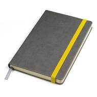 """Бизнес-блокнот """"Fancy"""", 135х210 мм, серый/желтый, твердая обложка,  резинка 10 мм, блок-линейка"""