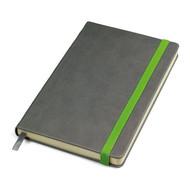 """Бизнес-блокнот """"Fancy"""", 135х210 мм, серый/зеленый, твердая обложка,  резинка 10 мм, блок-линейка"""