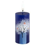 Свеча ручной работы «Снегири на ветке», в форме цилиндра