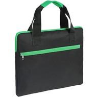 Конференц-сумка Unit Сontour, черная с зеленой отделкой