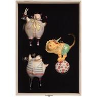 Набор из 3 елочных игрушек Circus Collection: фокусник, силач и лев