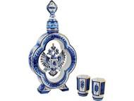 Набор: штоф для водки с двумя стопками «Герб России», белый/синий