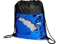 Блестящий рюкзак-мешок Mermaid со шнурком, черный/синий