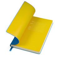 """Бизнес-блокнот  """"Funky"""" А5, голубой, желтый форзац, мягкая обложка,  в линейку"""