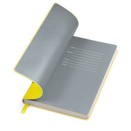 """Бизнес-блокнот """"Funky"""" A5,  желтый с серым  форзацем, мягкая обложка, в линейку"""