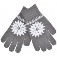 """Перчатки для сенсорных экранов """"СНЕЖИНКА"""",  серый, М, акрил, шеврон"""