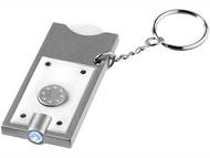 """Брелок-держатель для монет """"Allegro"""" с фонариком, белый/серебристый"""